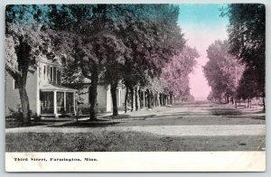 Farmington Minnesota~Third Street Homes~Trees Line Sidewalks~Dirt Road~1908 PC