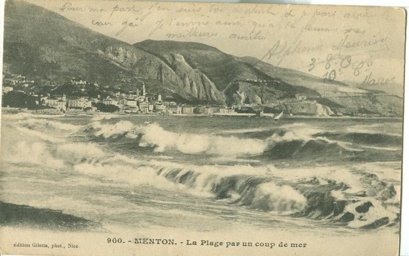 Menton, La Plage par un coup de mer, 1911 used Postcard CPA