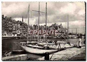 Modern Postcard Honfleur The Vieux Bassin Lieutenancy Boat dock Sainte Catherine