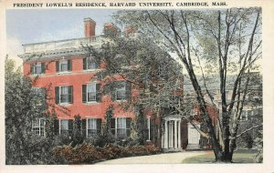President's Lowell's Residence, Harvard Univ., Cambridge, MA., Early Postcard