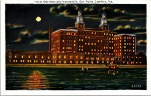 Hotel Chamberlin at Night Old Point Comfort Virginia VA Postcard - vintage - pc