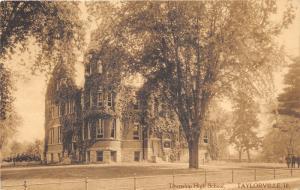 Taylorville Illinois~Township High School~Men in Yard~RPO Railroad Postmark