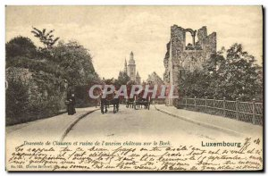 Old Postcard Descent Clausen and ruins of ancient Chateau on the Bock Luxembourg