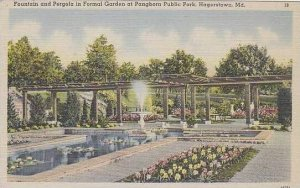 Maryland Hagerstown Fountain And Pergola In Formal Garden At Pangborn Public ...