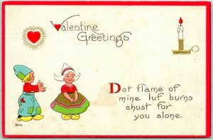 1910s VALENTINE'S DAY Postcard Dutch Boy & Girl Dot Flame of Mine Luf Burns…