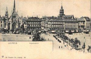 Leipzig Augustusplatz Square Vintage Cars Postcard