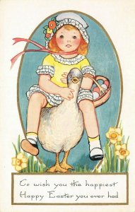 LP60  Easter  Postcard Goose Little Girl  Whitney Publisher
