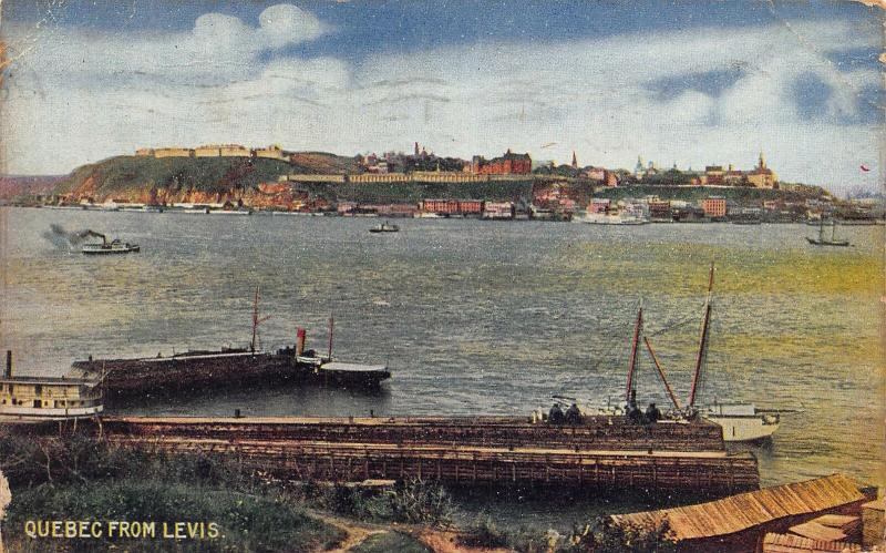 Canada Quebec from Levis Boats Panorama Postcard