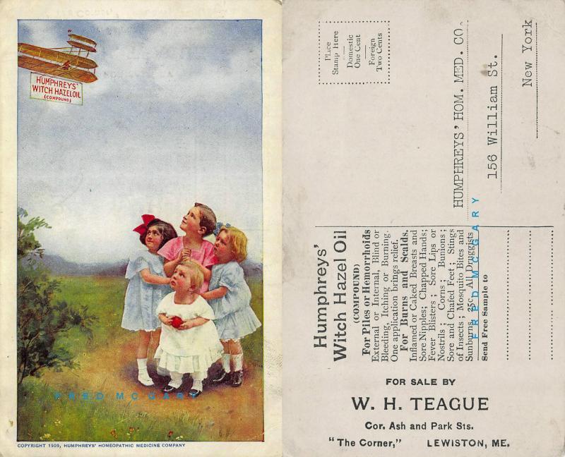 1909 Lewiston Maine Ad Postcard: Humphreys' Witch Hazel Oil, Wright Flyer
