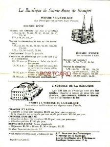 LA BASILIQUE DE SAINTE-ANNE DE BEAUPRE - Horaire a La Basilique