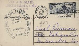 1928 Milwaukee Wisconsin Postcard: Lindberg's Farewell Airmail Flight (CAM 2)