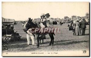 Old Postcard Berck Beach Donkey On Beach