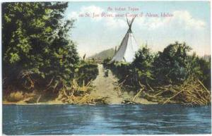 An Indian Tepee on St. Joe River, Northern Idaho, ID, Divided Back