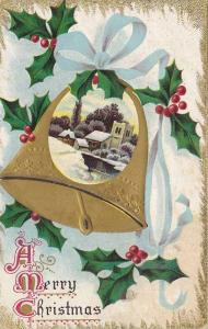 A Merry Chrsitmas, Winter scene on a gold ringing bell from blue ribbon, holl...