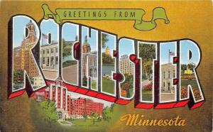 Rochester Minnesota Large Letter Linen Postcard~Hotel-Post Office-Park?-Hospital