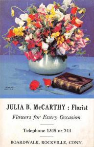 Rockville CT Florist McCarthy Advert Blotter~Flower Bouquet~Book (Bible?) 1950s