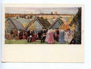 228442 RUSSIA Kustodiev holiday village old postcard