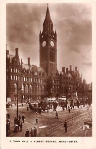Manchester Town Hall & Albert Square, railroad, animated 1914