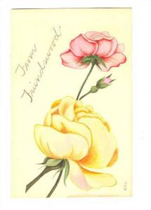 Hand drawn Pink & Yellow roses, 00-10s