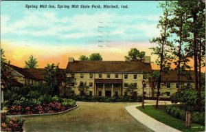 MITCHELL, Indiana ~ Spring Mill Inn at Spring Mill State Park Vintage Postcard