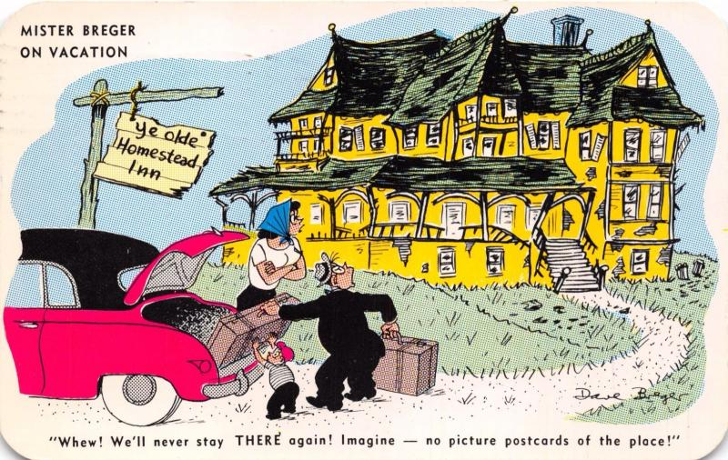 MISTER BREGER ON VACATION~NO PICTURE POSTCARDS OF THE PLACE COMIC POSTCARD 1957
