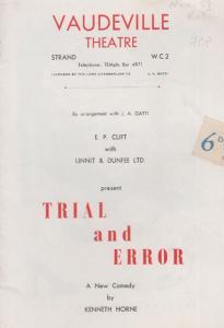 Trial & Error Vaudeville Comedy Derek Farr The Dambusters Theatre Programme