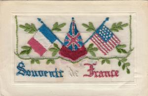 Hand Sewn, 1900-10s; Souvenir de France, flags of France & America, Insert