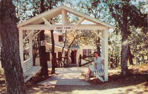 Waupaca WI~Pine Lake~United Lutheran Camp~Lady in Main Lodge Arbor~Sign~1953 PC