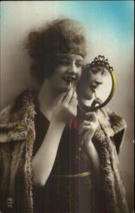 Art Deco Glamour Fashion - Beautiful Woman Applying Makeup Tinted RPPC #1