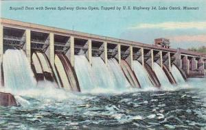 Missouri Lake Ozarks Bagnell Dam With Seven Spillway Gates Open Topped By U S...