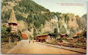 1910s Meiringen, Switzerland Postcard Mountain Stream in the Alps Street Scene
