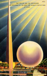 NY - 1939 New York World's Fair. Trylon & Perisphere at Night
