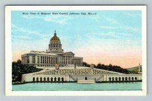 Jefferson City MO-Missouri, River View Of State Capitol, Vintage Postcard