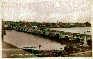 Berwick on Tweed Old Bridge River General view Postcard