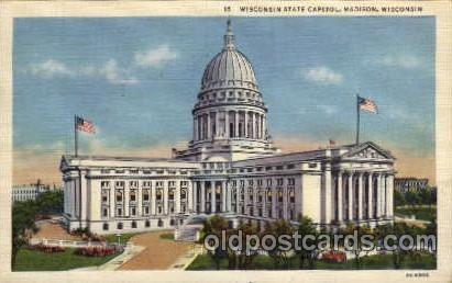 Madison, Wisconsin, USA United States State Capital Building Postcard Post Ca...