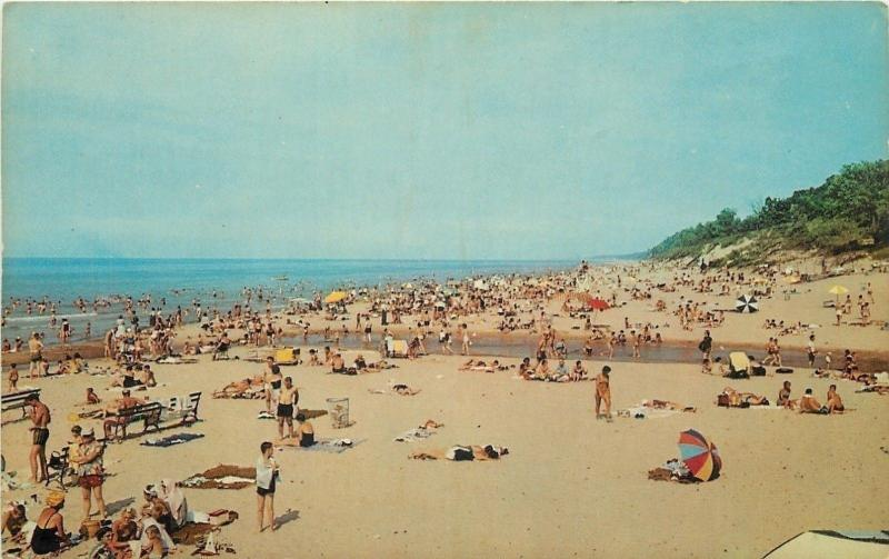 Chesterton Indiana Dunes State Park Crowded Beach Lake Michigan 1950s Postcard