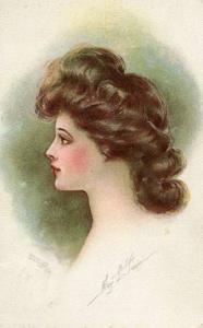 Brunette Lady - Artist Signed: May L. Farini