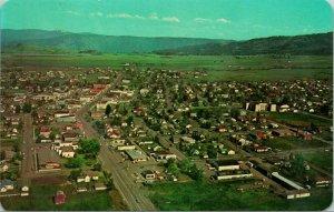Vtg Cromo Cartolina Grangeville Id Idaho Bird's Eye Vista Idaho Contea Unp