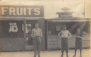 Jasonville IN Fruits, Hot Popcorn & Peanuts Stands in 1910 RPPC Postcard