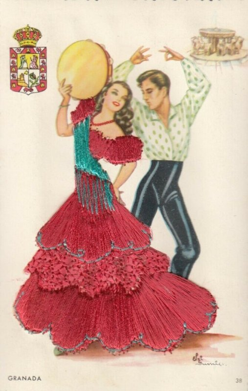 AS: GRANADA, Spain 1950-60s ; Embroidered Woman Dancer w/man, Coat of Arms