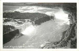 Canada Niagara Falls from the Air Real Photo Postcard 1950s