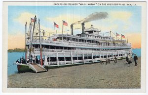 Excursion Steamer Washington On The Mississippi, Quincy, ILL