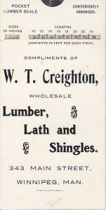 W.T. Creighton , Wholesale Lumber , Lath & Shingles , Winnipeg , Manitoba , C...