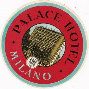 Italy Milano Palace Hotel Vintage Luggage Label sk2309
