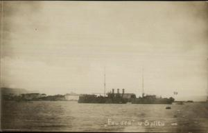 Naval Ship Foudre (French?) at Splitu Split Croatia Real Photo Postcard c1915