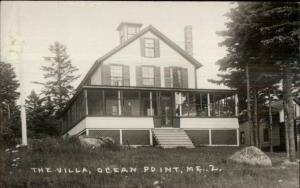 Ocean Point ME The Villa 1930s Real Photo Postcard