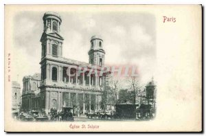 Postcard Old Paris St Sulpice church