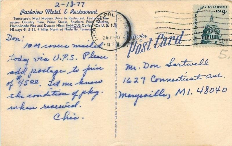 Nashville TN~Parkview Motel & Restaurant~Pinball Machine 1950s Postcard