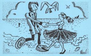 Postcard Fun Funny Novelty Comic, Teddy Boy and Girl Dancing on Beach Blue 24A