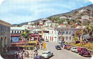 Charlotte Amalie St Thomas U. S. Virgin Islands Street View Old Cars Postcard